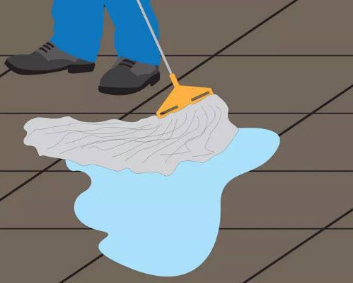 گام چهارم تمیز کردن سنگ - تی کشیدن دوباره با آب