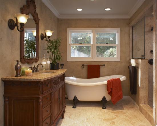 حمام تمام گرانیت در ترکیب با چوب